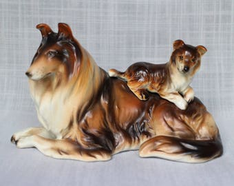 Japanese Large Collie Statue, Vintage 50s Large Collie Dog Figurine with Puppy on Top, Collectible Rare Sitting Dog Figurine, Japan