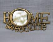Brass Sweet Home Key Holder, Vintage Brass Rack with a Mirror, Home Sweet Home Sign, Brass Mirror Key Holder, Brass Key Wall Hanging Decor