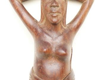 Wood Lady Nutcracker, Large Hand Carved Woman Figurine, Nude Erotic Sculpture Hazelnuts Cracker