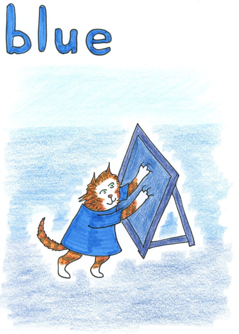 from Book 8 Ginger Nuts Alphabet #Cats Card Colour Blue