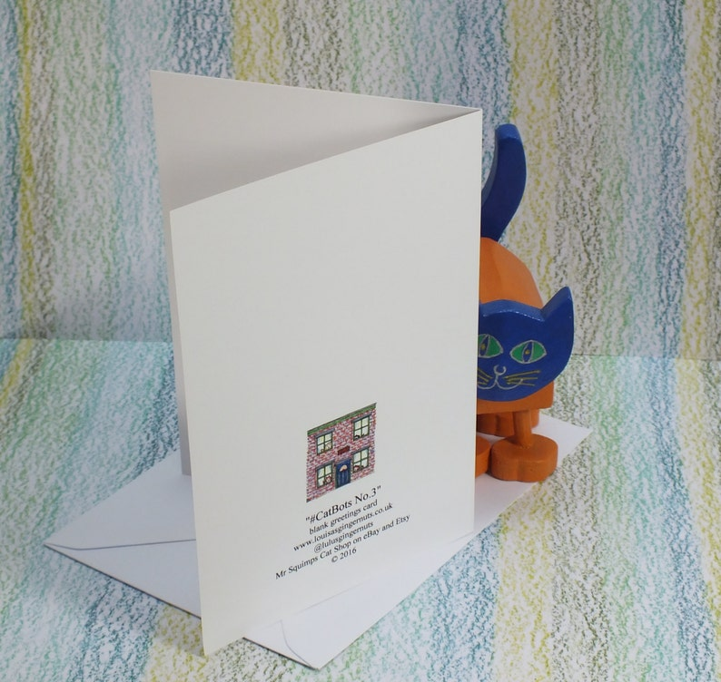 Card Graffiti Fallowfield Loop v3 #cat #CatBots bright blue background 2 sizes available in any quantity