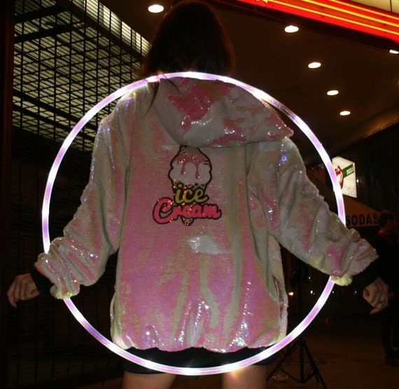 Festival Jacket - Ice Cream Coat - Stardust Love - Star Jacket - Unicorn Hoodie - Reversible Sequins