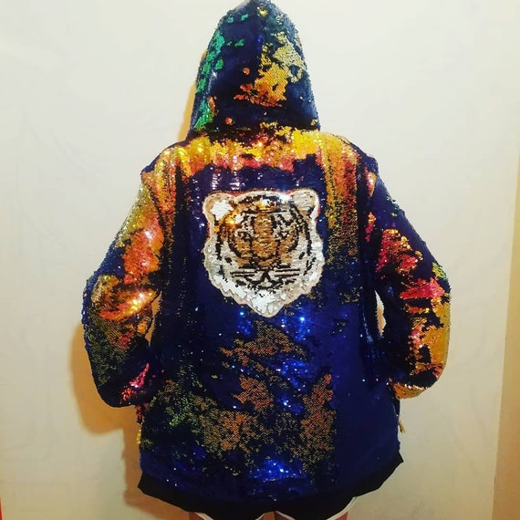 Mermaid Scale Sequin Jacket - Burning Man Coat - Tiger Hoodie - Burner Jacket