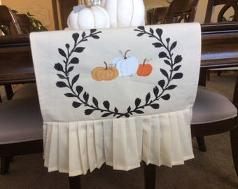 Shabby Chic Table Runner, Fall Table Cover, Thanksgiving Table Setting,  French Country Thanksgiving,Table Runner With Orange Pumpkin Runner