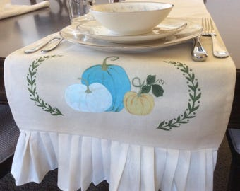 Shabby Chic Table Runner, Fall Table Cover, Thanksgiving Table Setting,  French Country Thanksgiving,Table Runner With Pumpkin