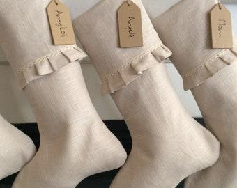 French Country Christmas  Stocking,Personalized Farmhouse Christmas Socks, Linen Christmas Stocking, Minimalist Holiday Socks, Ruffled Socks