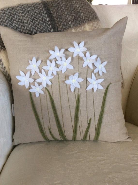 Paper Whites Pillow Cover White Flower Applique 3d Flower Etsy