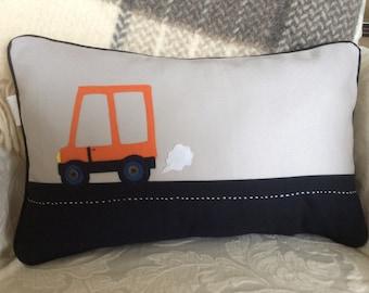 Boy Room Decor, Boy Pillow Cover, Orange Car Pillow, Car Pillow, Grey and Blue Pillow, Accent Pillow, Decorative Pillow, Cushion,Toss Pillow