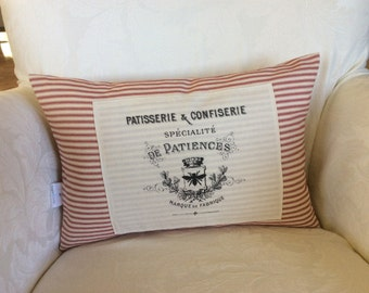 French Candy Sack, Candy Factory Pillow Cover, French Ad Print Pillow Cover, French Theme Cottage Decor,French Saying Pillow, Cottage Chic
