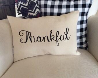 Thankful Saying Pillow, Thanksgiving Quote Pillow, Autumn Word Pillow, Pillow with Saying, Fall Decorative Pillow,  Autumn Decor Cushion