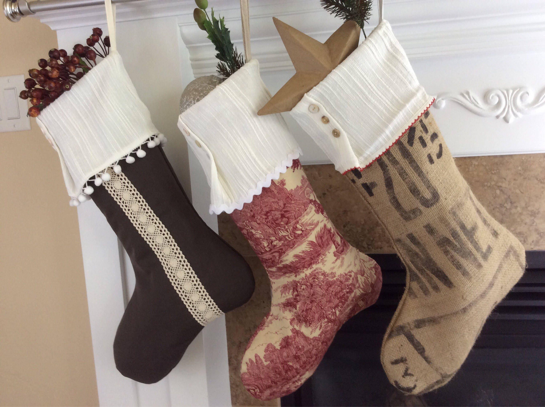 Vintage Christmas Stockings.Personalized Socks Vintage Christmas Stockings French Country Christmas Socks Farmhouse Cottage Christmas Shabby Chic Burlap Socks Gra