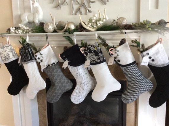 Black And White Christmas Stockings.Black And White Christmas Stockings Holiday Gift Socks Modern Christmas Socks Personalized Christmas Stocking Buttoned Mantle Stockings