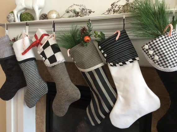Black And White Christmas Stockings Holiday Socks Modern Etsy