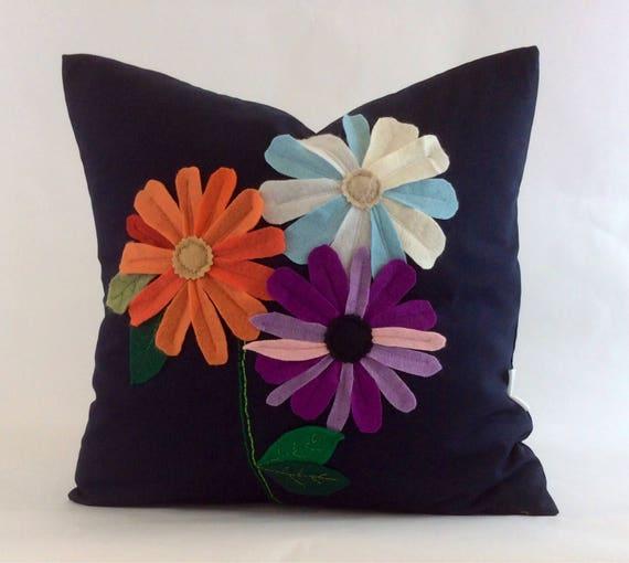 Autumn Flower Pillow Bold Floral Cushion Flower Applique  351b1011c0