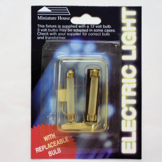 12 volt dollhouse miniature flourette socket and cord with 2 bulbs,  Miniature House, dollhouse lighting bulbs, replacement miniature bulbs