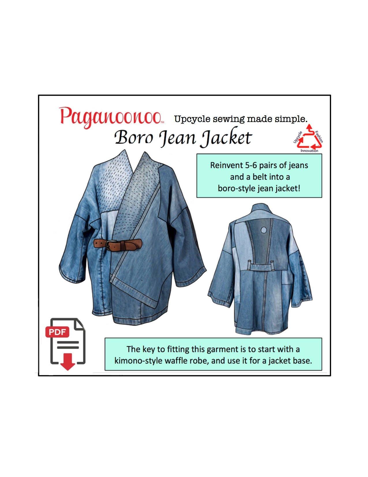 PDF Paganoonoo Boro Jean Jacket Sewing Pattern. Upcycle denim