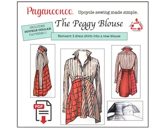 """PDF upcycle sewing instructions Paganoonoo """"Peggy"""" w/ bonus double collar. DIY Recycle dress shirts into woman's blouse! All sizes You PRINT"""
