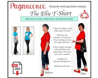 PDF DIY T-shirt Refashion sewing instructions: No more boxy tight fit! Flattering fit-and-flare style. Digital file sent by email