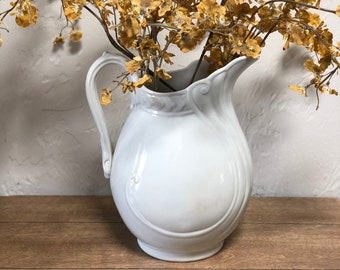 RARE Antique 1880s White Ironstone Pitcher by American China Co. of Toronto Ohio, Modern Country