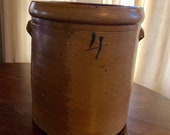 Antique Stoneware 4 Gallon Crock with Blue Number 4, Pickling Crock, Country Kitchen, Farmhouse Primitive
