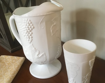 """Vintage Milkglass Pitcher and 8 Glasses in """"Golden Harvest"""" by Colony Glass 1960s"""
