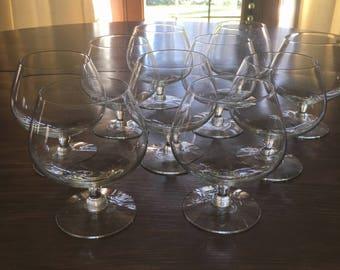 10 Vintage Clear Glass, Cordial Glasses, Liqueur Glasses, Wine Goblets Vintage Barware #1044