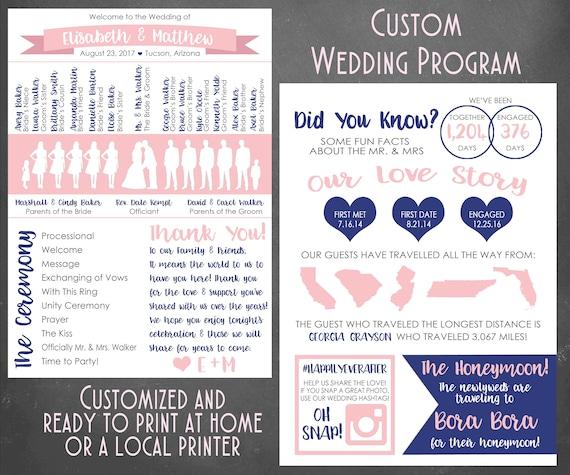 Customized Wedding Program DIGITAL Infographic Custom