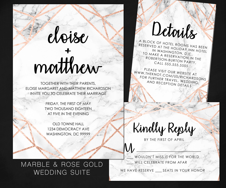 MARBLE & ROSE GOLD Wedding Invitation Modern Contemporary