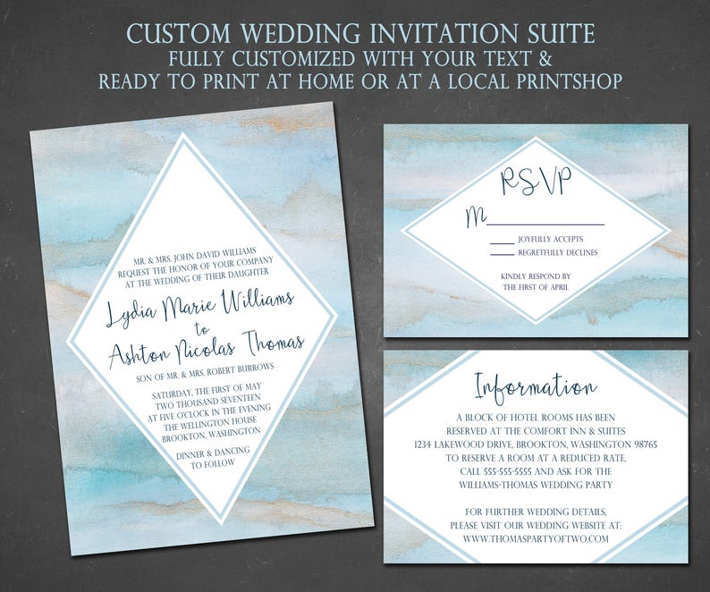 DIGITAL Marble Wedding Invitation, Blue, Gray, Grey, Navy Blue, Light Blue,  Modern, Triangle, Shape, Bold, Unique, Digital, Download, Print