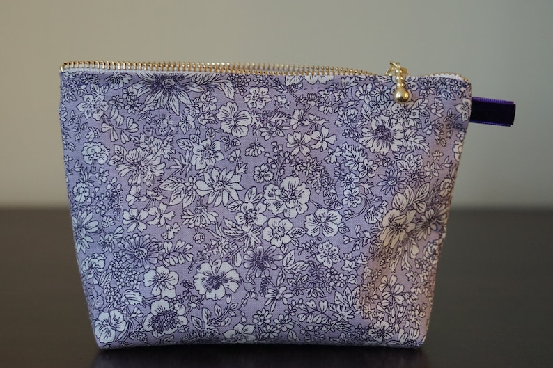 43665652b366 liberty cosmetic pouch / makeup fabric pouch / flower print bag / mini  zipper pouch / pretty print pouch