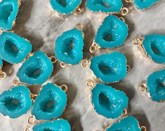 Turquoise Blue Connector 25mm To 18mm Each 5pcs Electroplated Druzy Connector Gold Connectors