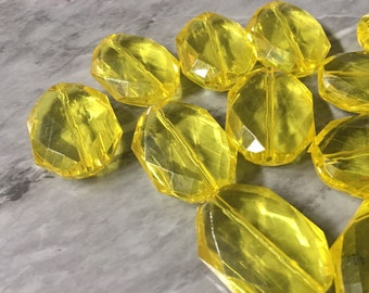 jewelry making QUEEN Collection Lemon Yellow 31mm acrylic beads wire bangle large yellow acrylic oval beads chunky statement necklace