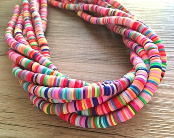 """Rainbow 6mm WHOLESALE rubber disc beads, 15"""" strand heishi beads, colorful round polymer beads, colorful pride clearance beads, donut beads"""