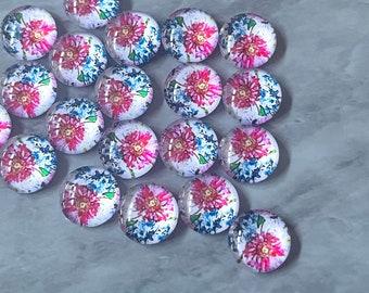 Pink & Blue Flower Art Resin 12mm Druzy Cabochons, jewelry making kit earring set, diy jewelry, druzy studs, 12mm Druzy stud earrings