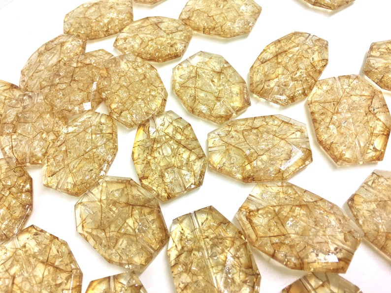 chunky craft supplies for wire bangle or jewelry making tan brown Champagne Dinosaur Egg Clear Faceted 35mm acrylic beads