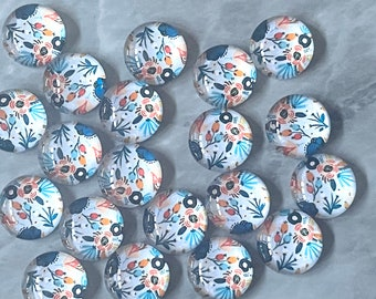 Peach & Blue Flower Art Resin 12mm Druzy Cabochons, jewelry making kit earring set, diy jewelry, druzy studs, 12mm Druzy stud earrings