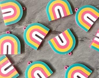 XL Bright Rainbow Acrylic Blanks Cutout, earring jewelry making, 34mm pink U shape half moon, Stripe rainbow green white yellow