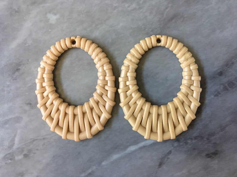 teardrop cutout acrylic 50mm Earring Necklace pendant bead one hole at top DIY blanks rattan straw hay brown Tan Ratton Acrylic Beads