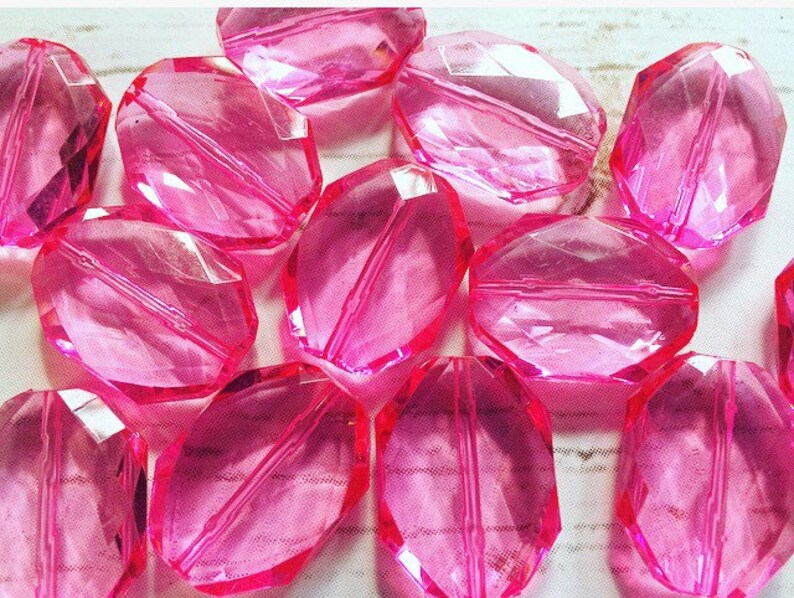 transparent beads Beads for Bangle Making or Jewelry Making 31x24mm PINK magenta Faceted Slab Nugget Beads chunky beads statement beads
