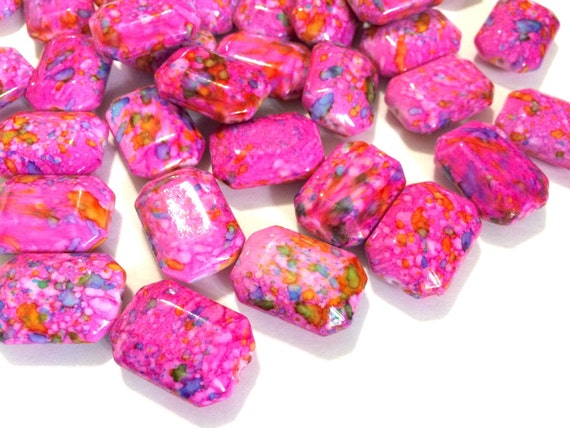 6 Acryl Glas Perlen fuchsia lila Ringe Donat 40 x 10 mm Schmuck Basteln V21