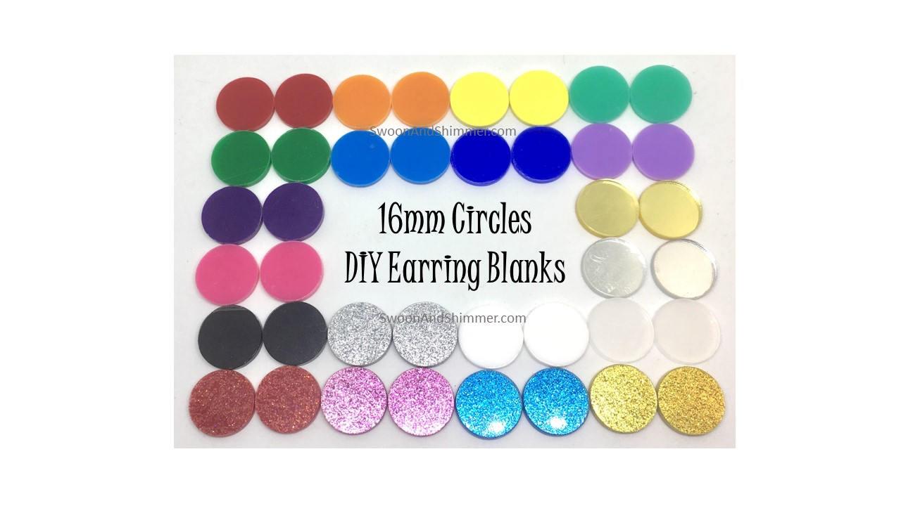Acrylic Earring Blanks 16mm earring circles monogram  c1e6cd4e2120