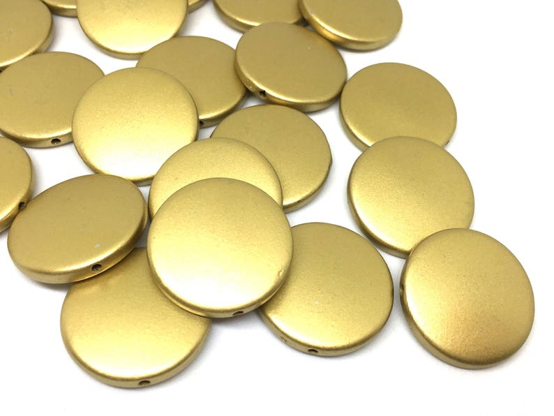 Gold beads large gold beads Golden Goddess 25mm Round beads gold statement necklace gold jewelry circular beads shiny gold beads