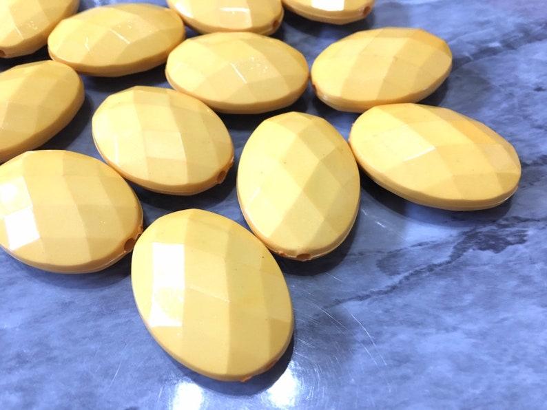 wire bangles or bracelet chunky yellow beads 38mm yellow beads XL Yellow faceted beads acrylic beads jewelry making big yellow beads