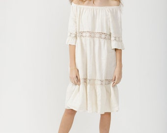 854d292f3ea Linen and lace dress. the Capri dress. Made in Italy linen dress.