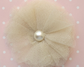tulle pom pom brooch. tulle and pearl brooch. girls accessory.
