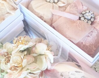 scented sachets. rose scented sachets. boxed sachets. lace and rose scented sachets. sweet scented sachet.  drawer sachets.