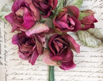 Velvet flowers . millinery flower posy. millinery flowers. vintage flowers. miss rose sister violet  posy.  wholesale millinery flowers