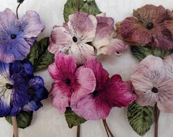 Velvet flowers . Millinery pansies. millinery flowers. velvet flowers. Vintage millinery . velvet pansies. vintage pansies.