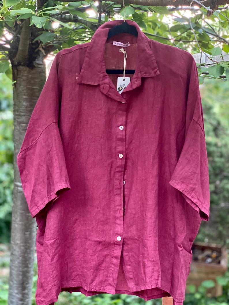 Linen Teddie shirt in Cranberry Linen jacket Linen shirt
