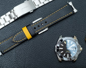 Made To Order, Tag heuer Aquaracer  end link strap, full vegetable leather handmade, hand stitched, custom made